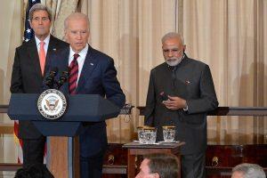 جو بائیڈن اور نریندر مودی  امریکی دورے کے دوران۔ فوٹو: امریکی محکمہ خارجہ