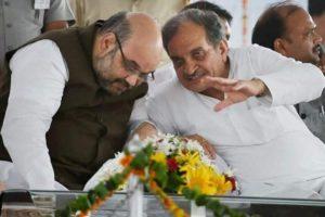 مرکزی وزیر داخلہ امت شاہ اور سابق مرکزی وزیر بریندر سنگھ۔ (فوٹوبہ شکریہ: ٹوئٹر)