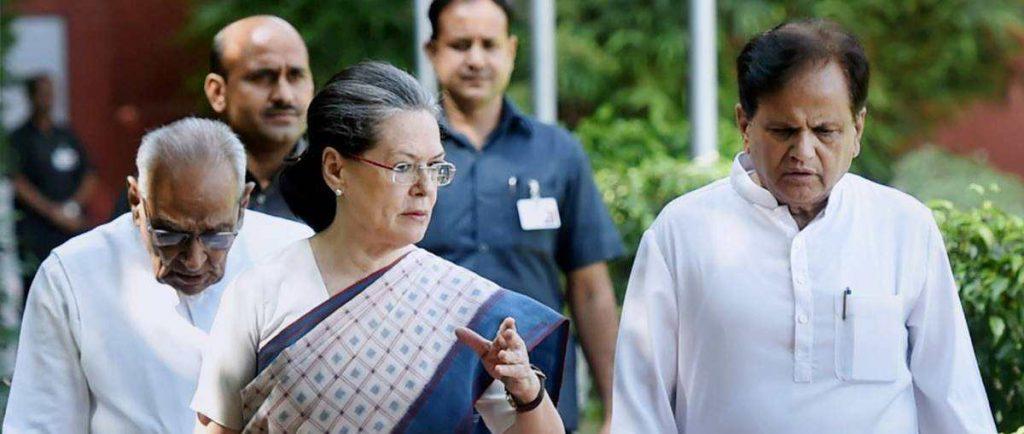 سونیا گاندھی اوراحمد پٹیل، فوٹو : پی ٹی آئی
