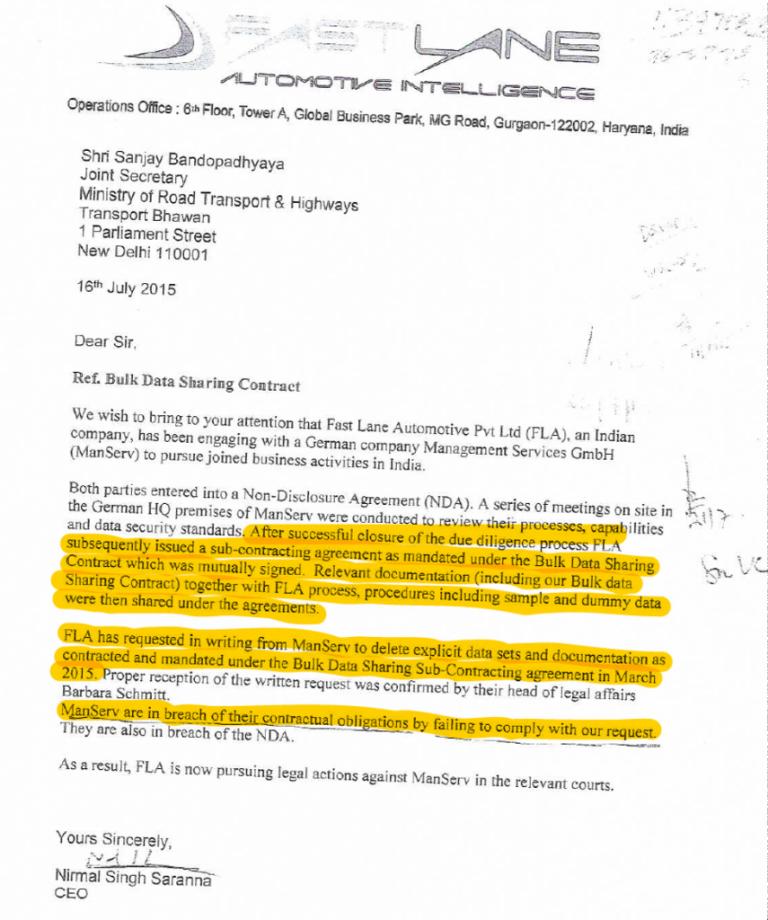 وزارت کو جرمن کمپنی کے ساتھ ہوئے سب کانٹریکٹ کی جانکاری دینے کے لیے ایف ایل اے کی جانب سے بھیجا گیا خط۔