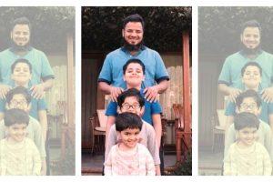 اپنے بچوں کے ساتھ خالد۔ (فوٹو: اسپیشل ارینجمنٹ)