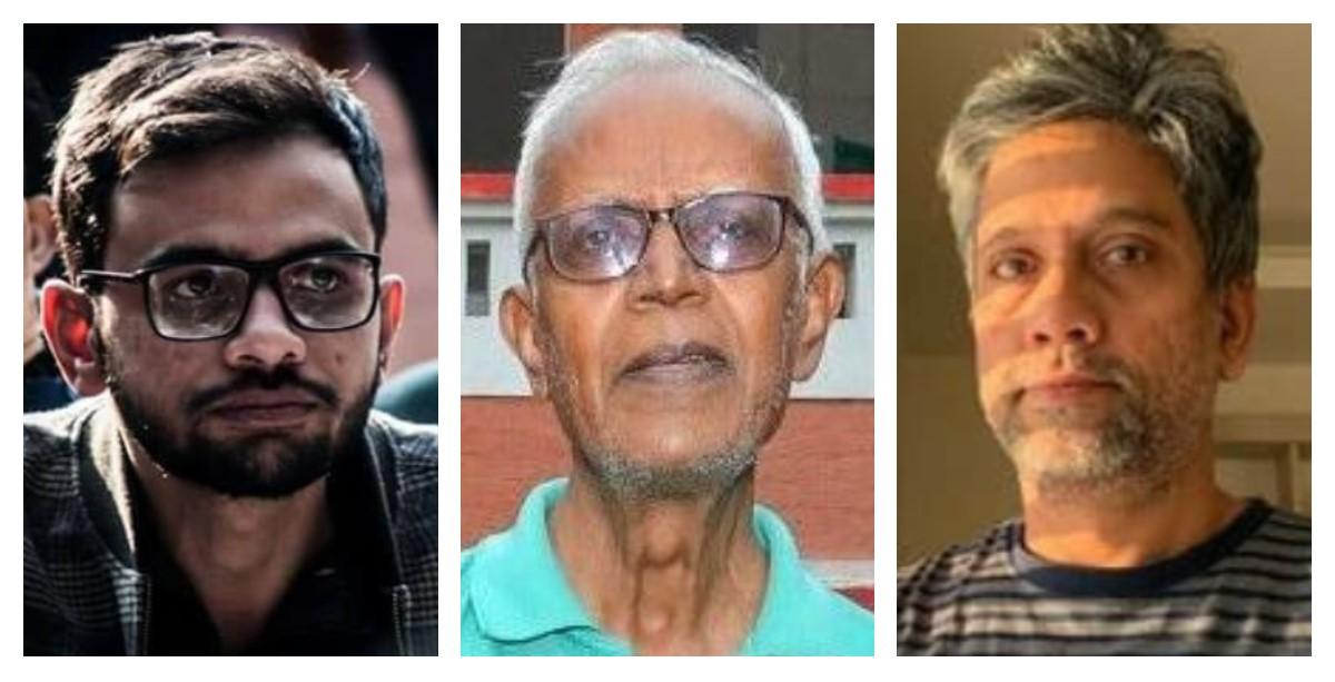 عمر خالد، فادرا سٹین سوامی اور ہینی بابو ایم ٹی۔ (فوٹو بہ شکریہ: فیس بک/پی ٹی آئی/ٹوئٹر)