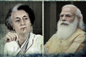 اندرا گاندھی اور نریندر مودی۔ (فوٹوبہ شکریہ : وکی میڈیا کامنس/پی آئی بی)