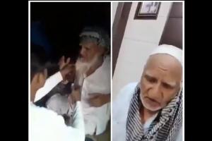 متاثرہ بزرگ مسلمان کی جانب سے جاری کیے گئے ویڈیو کاا سکرین شاٹ۔ (فوٹو: ٹوئٹر/@unknwnn_girl)