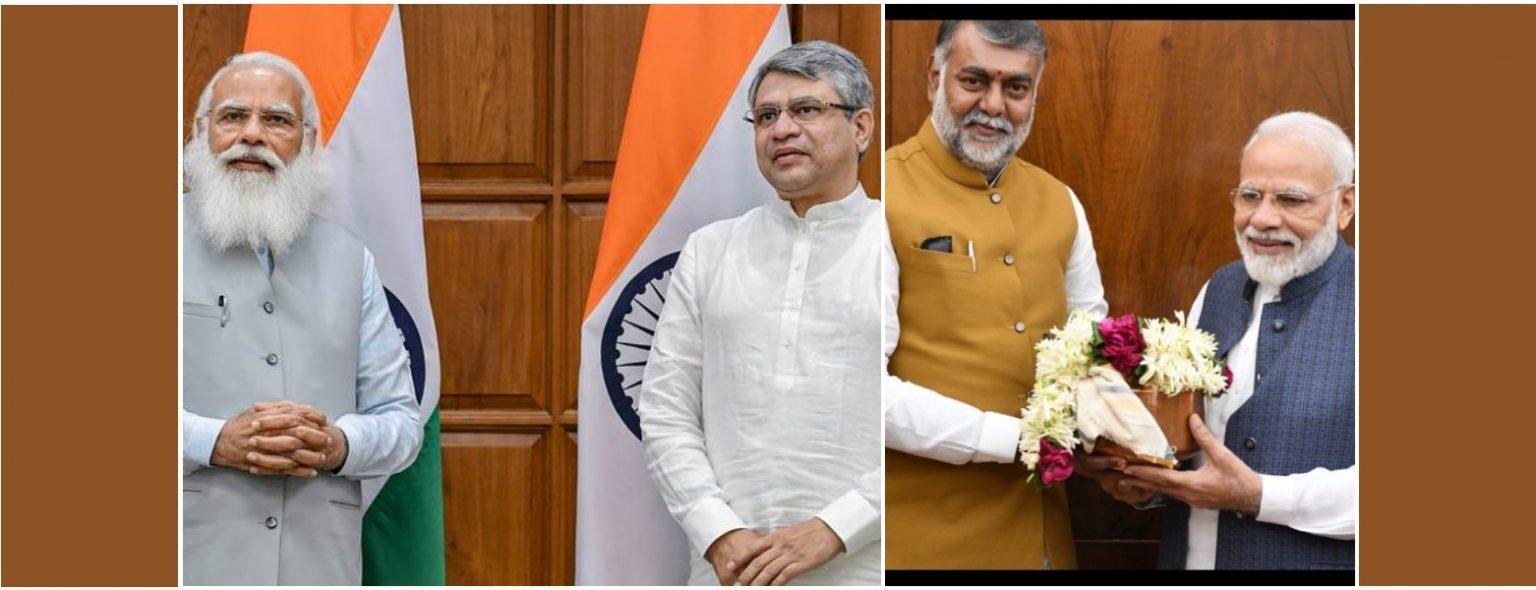 (بائیں)وزیر اعظم نریندر مودی کے ساتھ اشونی ویشنو اور پرہلاد پٹیل۔ (فوٹوبہ شکریہ: پی آئی بی)