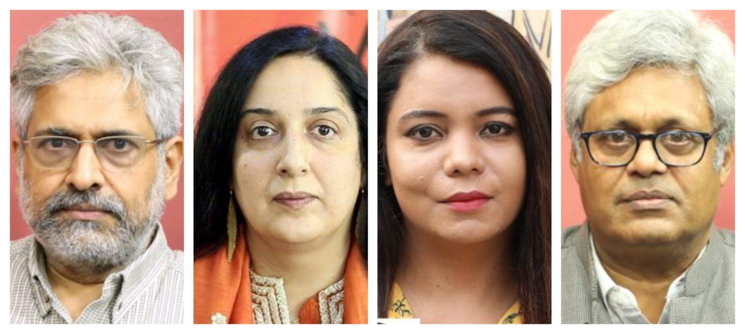 سدھارتھ وردراجن، سواتی چترویدی، روہنی سنگھ، ایم کے وینو۔ (تمام فوٹو: دی وائر)