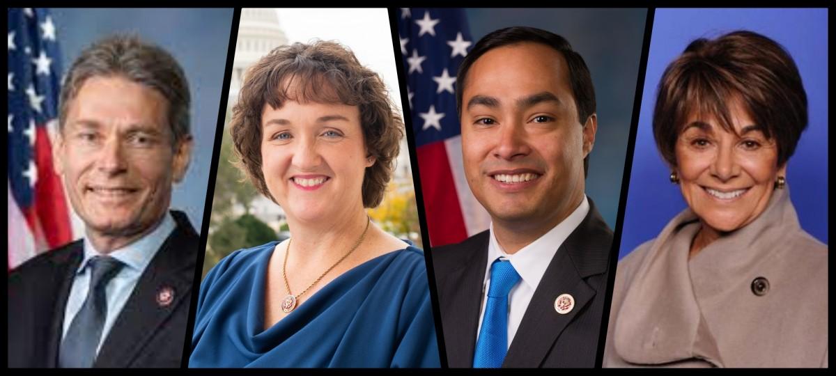 امریکی قانون ساز(بائیں سے دائیں) ٹام مالناوسکی، کیٹی پورٹر، ہواکین کاسترو اور انا جی ایشو۔ (فوٹو: وکی میڈیا کامنس)