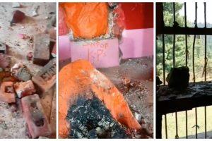 کشمیر کے ماتا برگھ شکھا بھگوتی مندر میں کی گئی توڑ پھوڑ (فوٹو: ویڈیوگریب)